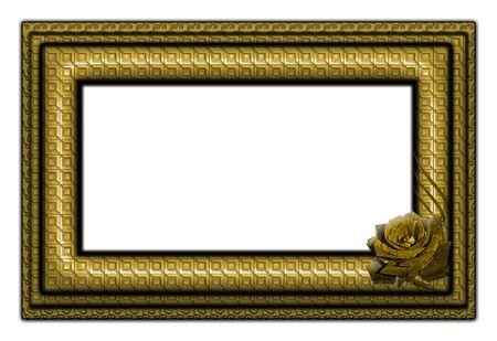 gilt: A golden frame for a picture. Art illustration.