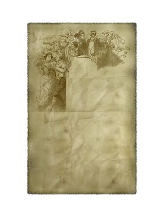 transcribe: Old creased paper with an image of drawed people. Stock Photo