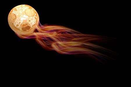 Soccer ball in fire isolated over black background photo