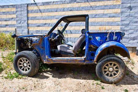 junk: Old abandoned rusty field car