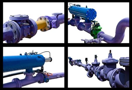 Collage made of industrial water pipe systems Stock Photo