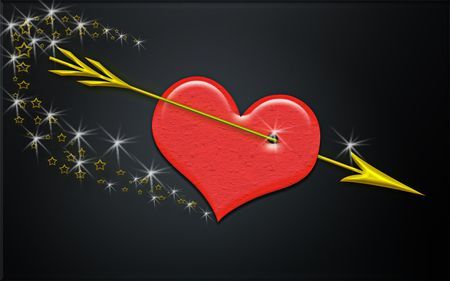An illustration of a heart gored by arrow over black background