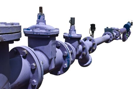are industrial: Industrial water pipe systems. Flange connection.