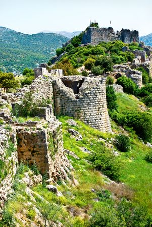 golan: Remains of the Nimrod fortress on the Golan Heights,Israel Stock Photo