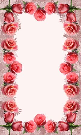 red rose: A decorative photo frame bordered with roses.