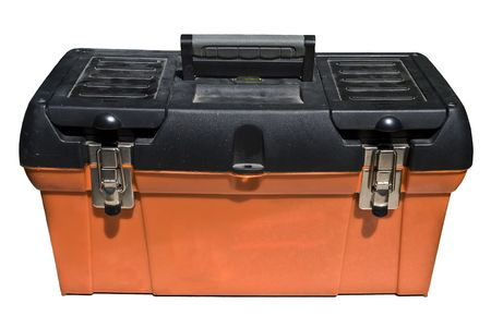 Close-up of an isolated orange and black toolbox over white. photo