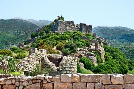 in the heights: Ruined ancient Nimrod fortress on the Golan Heights, Israel