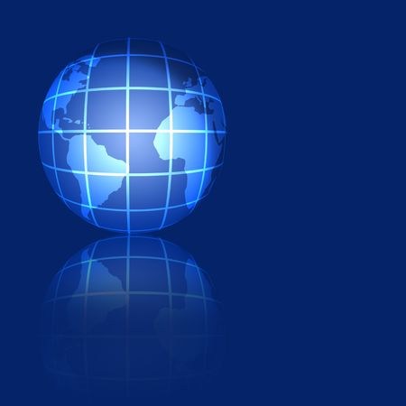 globe grid: An illustration of the world globe with grid, over blue.