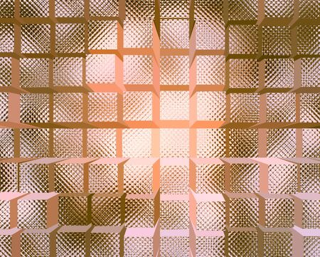 chiseled: A background pattern of 3D rendering quilted brown glass cubes.