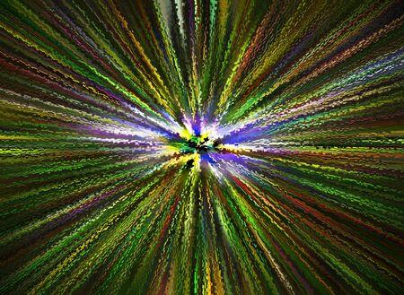 抽象的な背景。センターから色光線。