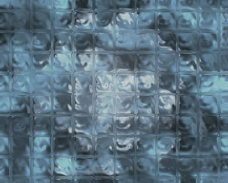 chiseled: A translucent wall made of blue glass bricks. Stock Photo