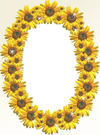 A photo frame designed with sunflowers Фото со стока