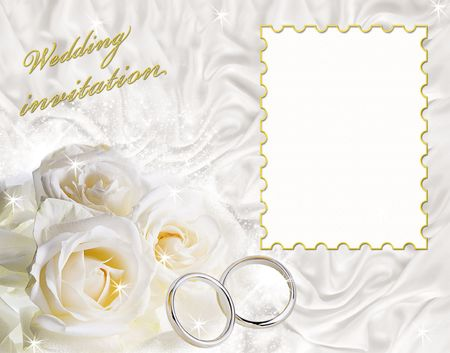 A card for a wedding invitation with a frame for sample text.   photo