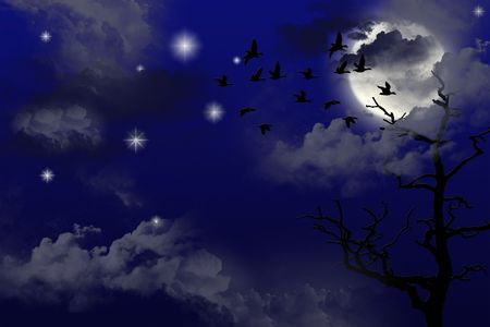 Night birds flying in the Moonlight. Art illustration.