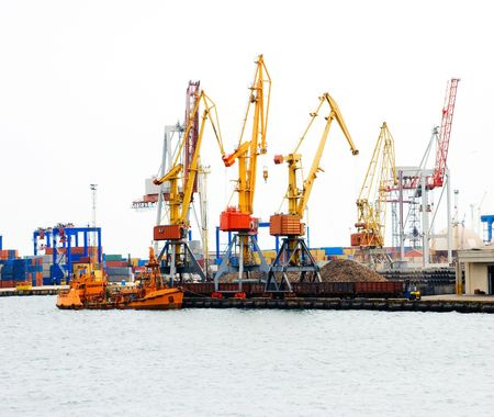 Huge cargo port cranes at operation.