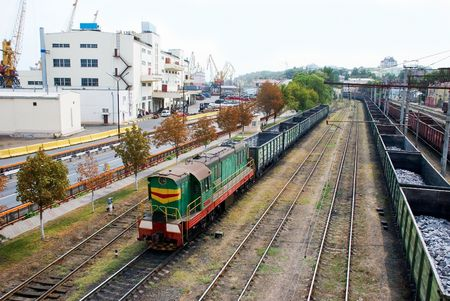 goods train: A train carries cargoes at the port