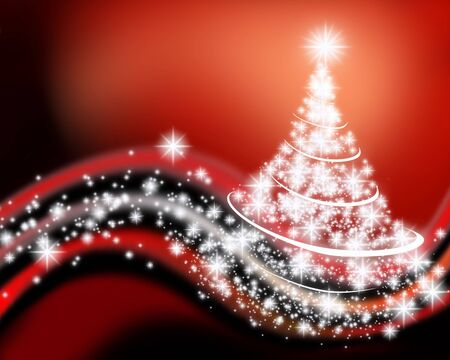 wave background: An illustration of Christmas tree drawn by graphic effects Stock Photo