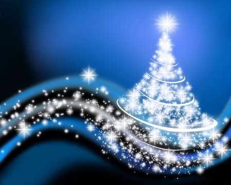 An illustration of Christmas tree drawn by graphic effects Stock Photo