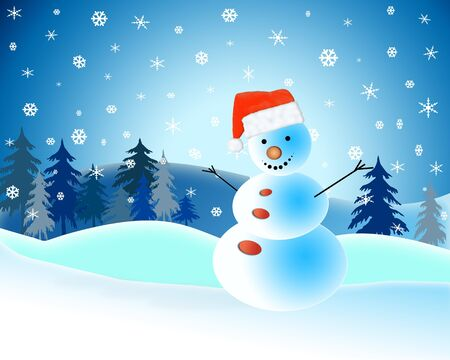A snowman wearing a red hat on a snowflake background photo