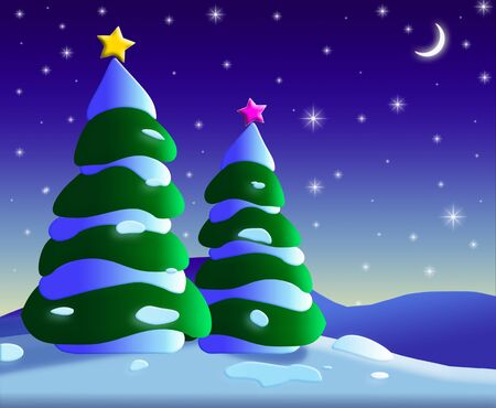 An illustration of Christmas trees at night