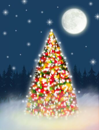 An illustration of an embellished Christmas tree at night.