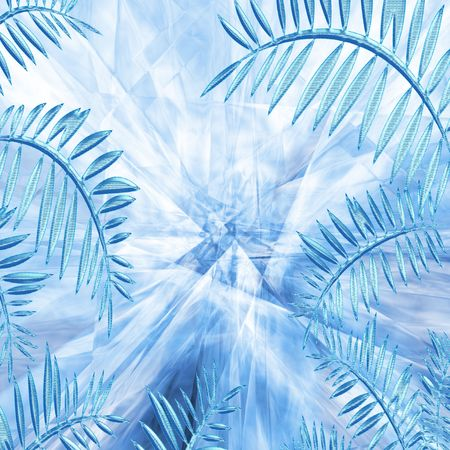 frozen glass: Icy leaves against the frozen glass background. Stock Photo