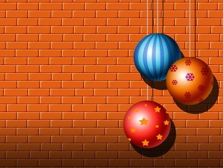 ornamented: Decorative ornamented balls against the brick wall background.