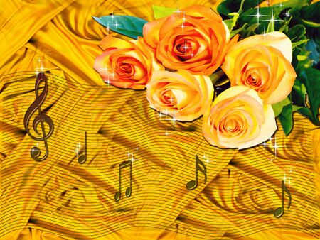 Musical notes and roses over the silk bckground. photo