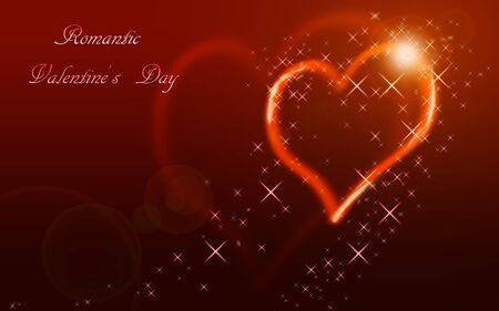 별 가운데 발렌타인 하트의 삽화.