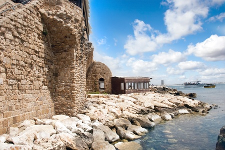 akko: Remains of the ancient fortress walls in Akko, Israel