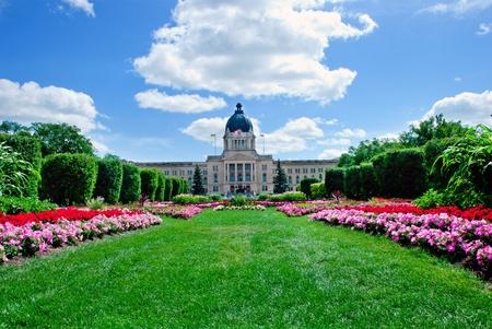 legislature: A beautiful flowerbed in front of Legislature building, Regina, Saskatchewan