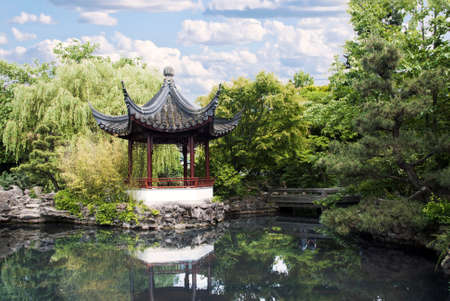 Pagoda of classical Chinese Garden in Chinatown of Vancouver BC