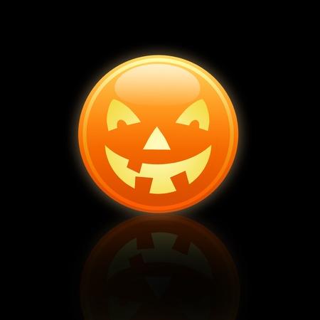 A pumpkin on black ,illustration for Halloween illustration