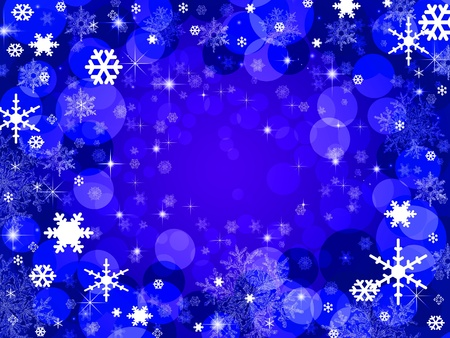 Abstract christmas snowflake and stars blue background