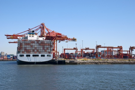 A cargo port works Huge cranes on a pier