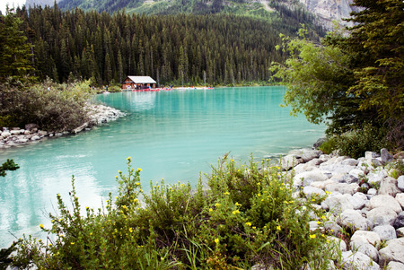 louise: Scenic View of Lake Louise, Banff National Park, Alberta , Canada