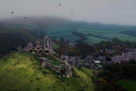 hazy: Castle in ruins from above with hazy weather