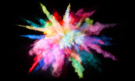 Colorful powder explosion, isolated on black background