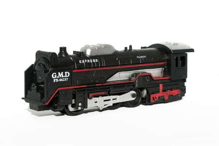 A toy train isolated on a white background Stock Photo