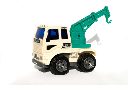 racing sign: Toy Crane Truck on White Background