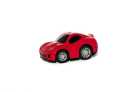 fuel rod: Red toy car isolated on white