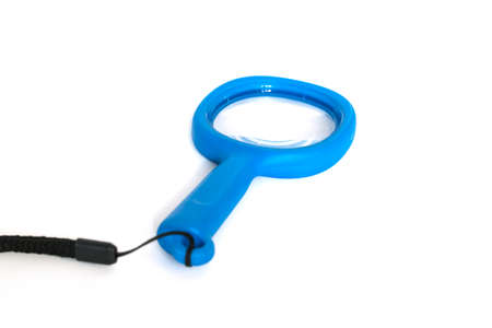 low scale magnification: Magnifying glass isolated on white background