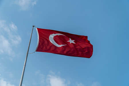Turkish flag in blue sky background