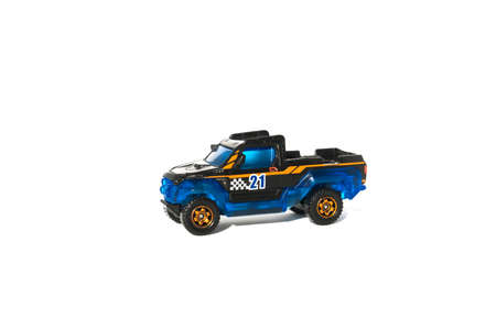 Blue toy car isolated on white background Banco de Imagens