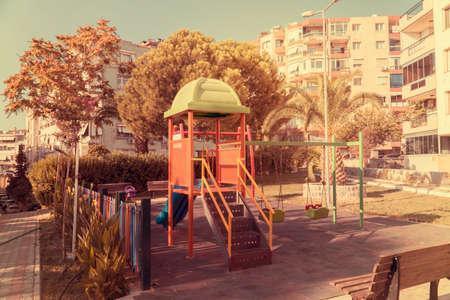 Playpen. Children playground in the park.