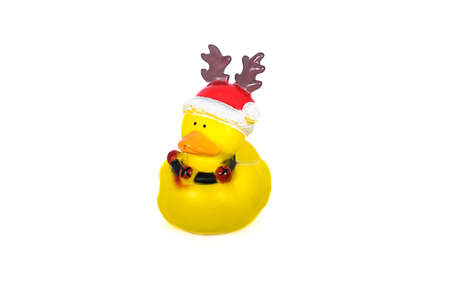 Yellow rubber duck isolated on white background Stock Photo