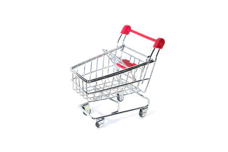 Red shopping cart isolated on white