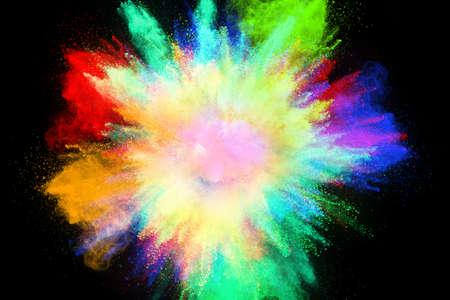 Colorful powder explosion, isolated on black background Reklamní fotografie