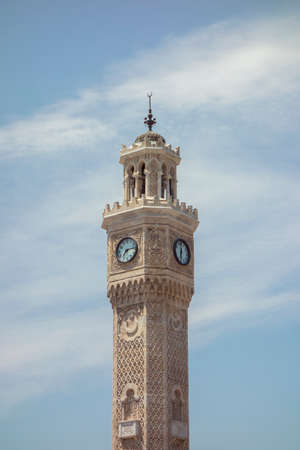 blue sky and clock tower in izmir