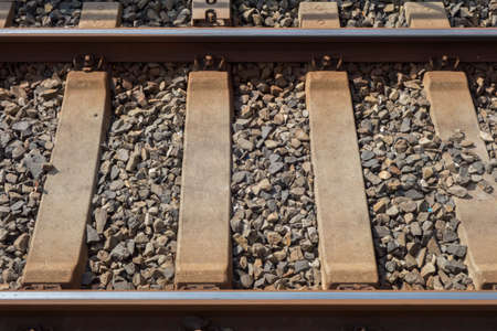 classic train rail and pebbles 写真素材 - 131641396